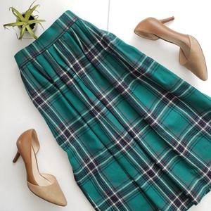 Vintage Green Tartan Wool Plaid Pleated Midi Skirt